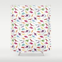 dinosaurs Shower Curtains featuring Watercolour Dinosaurs by Jasper&Pud