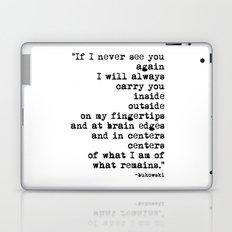 Charles Bukowski Typewriter Quote Centers Laptop & iPad Skin