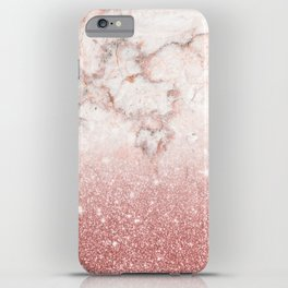 Elegant Faux Rose Gold Glitter White Marble Ombre iPhone Case