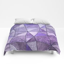 Purple Lilac Glamour Shiny Stained Glass Comforters