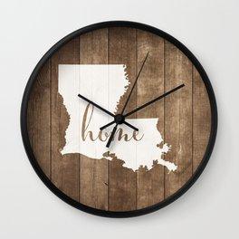 Louisiana is Home - White on Wood Wall Clock