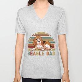 Beagle Dad retro vintage Father's Day Gift Unisex V-Neck