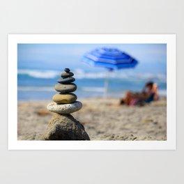 Beach Rock Balance Art Print
