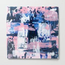 Abstract Acrylic - Navy, Blush Pink & White Metal Print