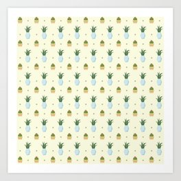 Pastel yellow brown green cactus floral dots summer pattern Art Print