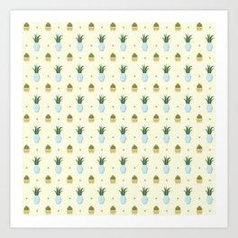 Pastel yellow brown green cactus floral dots summer pattern Art Print