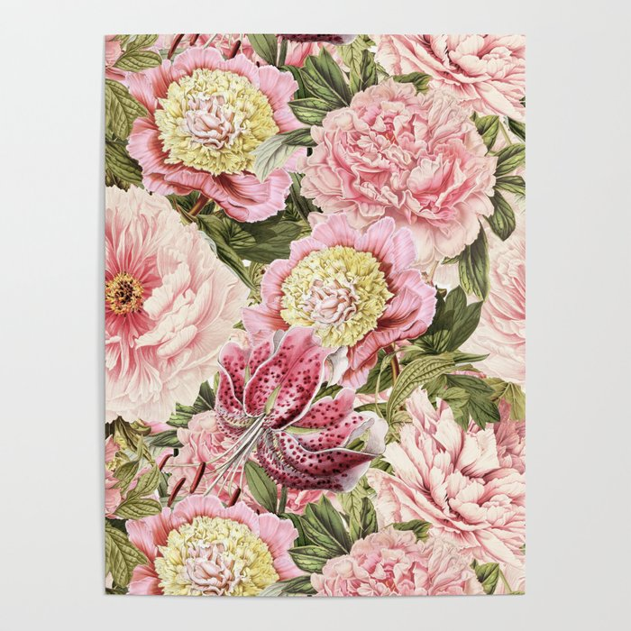 Vintage & Shabby Chic Floral Peony & Lily Flowers Watercolor Pattern Poster