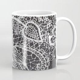 White hand drawn floral lace black chalkboard Coffee Mug