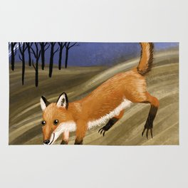 Happy fox in a field at night Rug