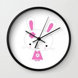 Cute Pink Kawaii Bunny Wall Clock