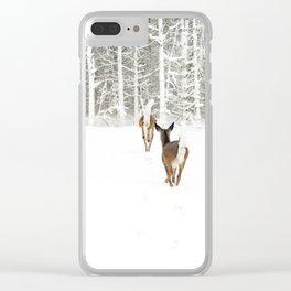 Doe In Winter Clear iPhone Case