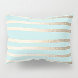 Simply Drawn Stripes White Gold Sands on Succulent Blue Pillow Sham