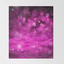 Whimsical Pink Glowing Christmas Sparkles Bokeh Festive Holiday Art Throw Blanket