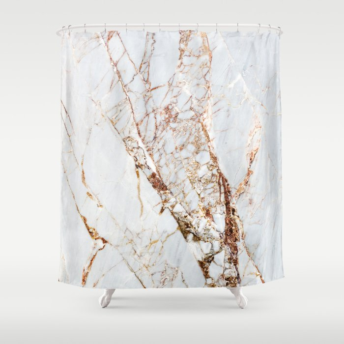 Gold Grey And White Sparkle Marble Shower Curtain By Stellanova