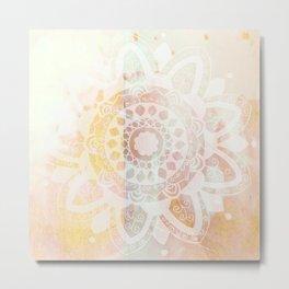 Vine white mandala on pink Metal Print