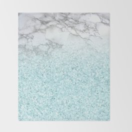 Pretty Turquoise Sparkles on Gray and White Marble Throw Blanket