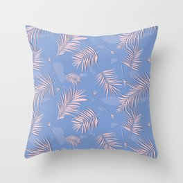 Rose quartz palm leaf Throw Pillow