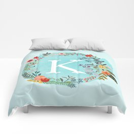 Personalized Monogram Initial Letter K Blue Watercolor Flower Wreath Artwork Comforters