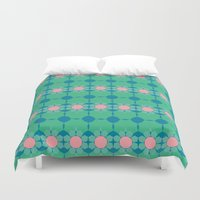 70s Duvet Covers featuring 70s Summer Blue by Honeybelle