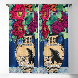 Bright Peony Rose Bouquet in Grecian Urn with Godzilla Walking French Bulldogs Painting Blackout Curtain