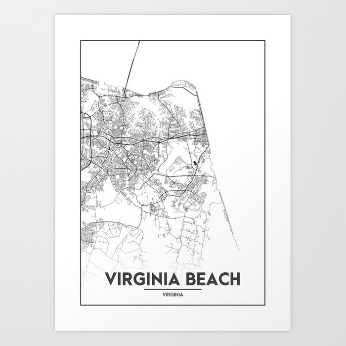 picture about Printable Maps of Virginia titled Minimum amount Town Maps - Map Of Virginia Seashore, Virginia, United Suggests Artwork Print via valsymot