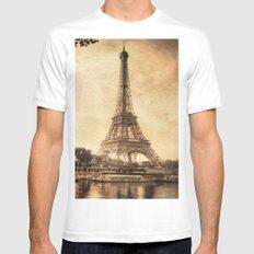 Vintage Eiffel Tower 2 Mens Fitted Tee MEDIUM White
