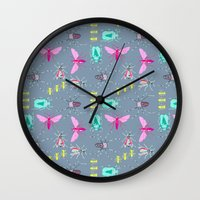 insects Wall Clocks featuring Insects by Micaela Zahner Design