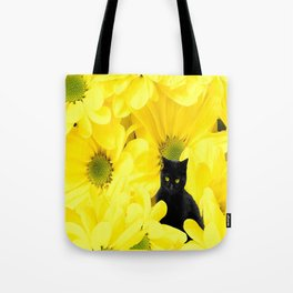 Black Cat Yellow Flowers Spring Mood #decor #society6 #buyart Tote Bag