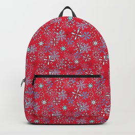 Snowflakes Falling in Cherry Red, Christmas and Holiday Fantasy Collection Backpack