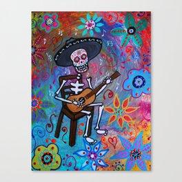MEXICAN GUITAR PLAYER MARIACHI DIA DE LOS MUERTOS PAINTING Canvas Print
