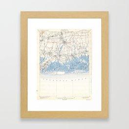 Vintage Hempstead Long Beach Long Island New York Map Framed Art Print