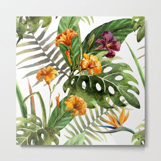 Tropical Floral Pattern 01 Metal Print