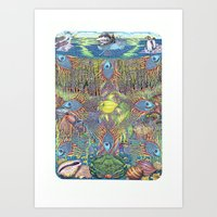 Pavonian nets of the dream, or bodyguards of the miracle Art Print