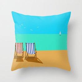 Deckchairs on the Beach Throw Pillow