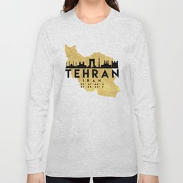 TEHRAN IRAN SILHOUETTE SKYLINE MAP ART Long Sleeve T-shirt