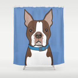 Brown Boston Terrier Art Poster Dog Icon Series by Artist A.Ramos. Designed in Bold Colors Shower Curtain