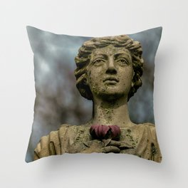 Stone Woman holding a flower Throw Pillow