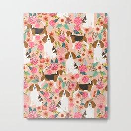 Beagle florals cute pet portrait pattern garden spring summer dog lover pet gift dog art fur baby Metal Print