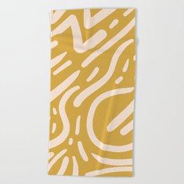 Earthy Mustard Yellow and Light Peach tribal inspired modern pattern Beach Towel