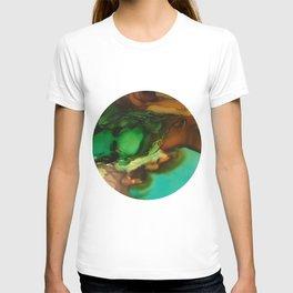 Melting Crystals, Green, Yellow, Brown an Aqua T-shirt