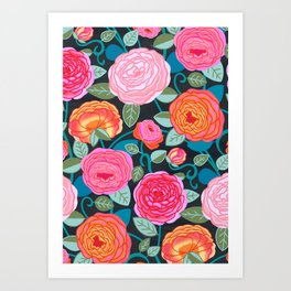 Climbing Rosa Vines  Art Print