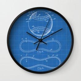Baseball Patent - Softball Art - Blueprint Wall Clock