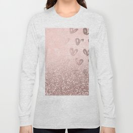 Rose Gold Sparkles on Pretty Blush Pink with Hearts Long Sleeve T-shirt