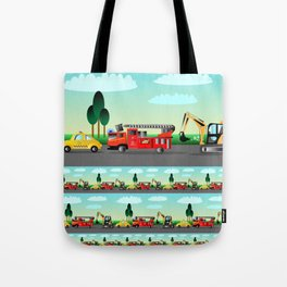 Three Vehicles Repeat Tote Bag