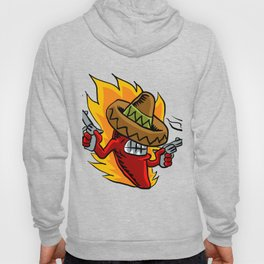 Mexican red chili pepper with guns. Hoody