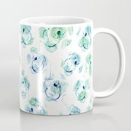 Abstract floral turquoise and white pattern. Coffee Mug