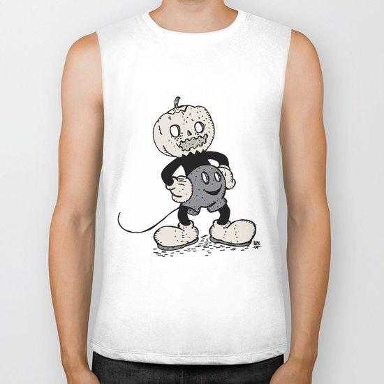 Mickey Pumpkin (desaturated) Biker Tank