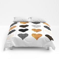 Gold, black, white hearts Comforters