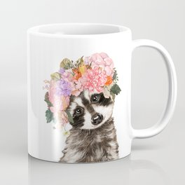 Baby Raccoon with Flowers Crown Coffee Mug