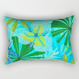 My blue abstract Aloha Tropical Jungle Garden Rectangular Pillow